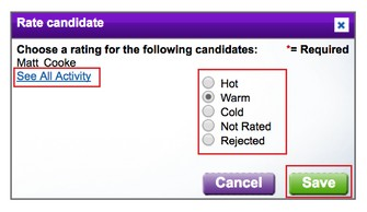 Aside from rating candidates, you can view the applicants' previous hiring-related activities (Source: Monster)