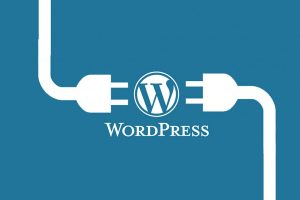 Wordpress logo between two plugs