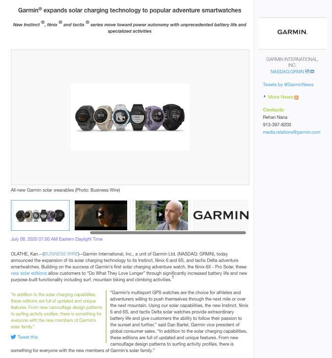 Screenshot of Garmin Video Press Release