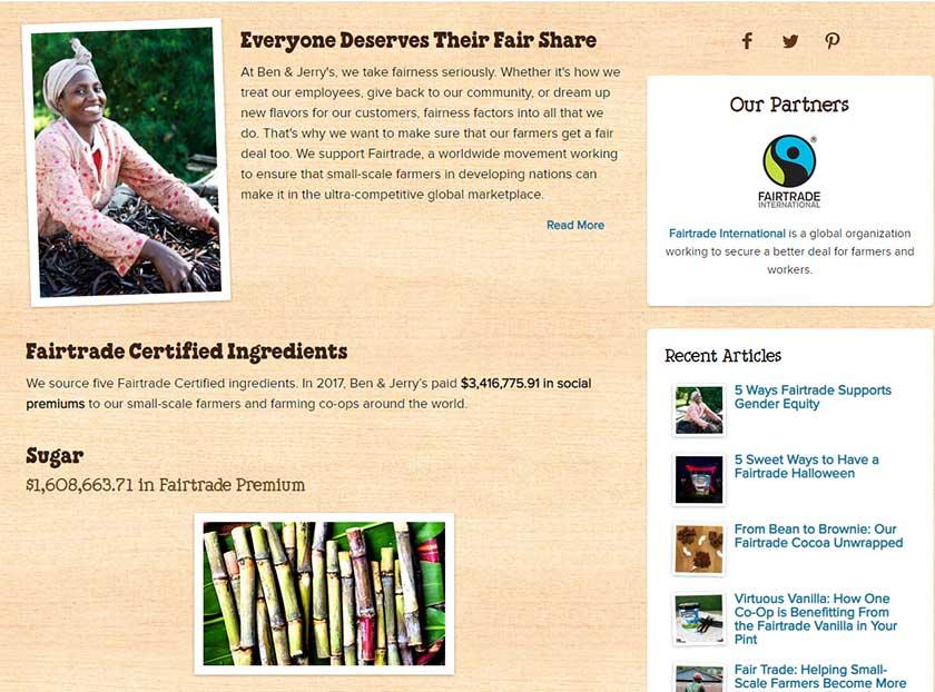 Screenshot of Ben & Jerry's Fair Trade Campaign