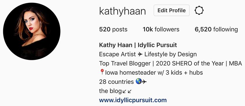 Kathy Haan's Instagram Bio
