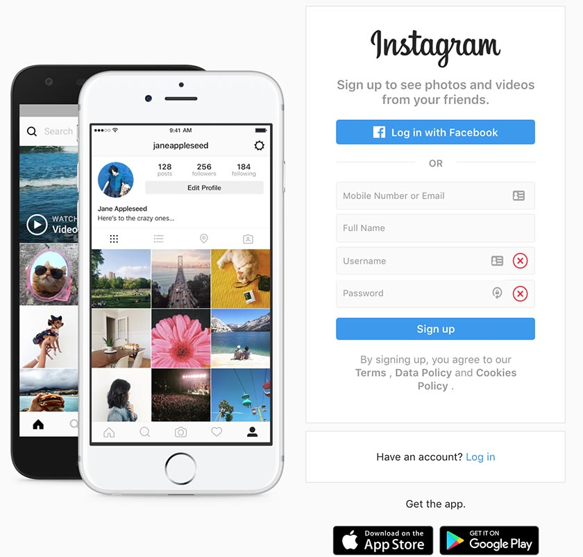 Login Page of Instagram