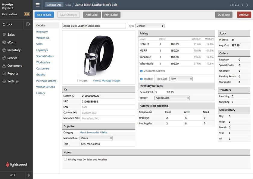 Screenshot of Product Information on Lightspeed POS