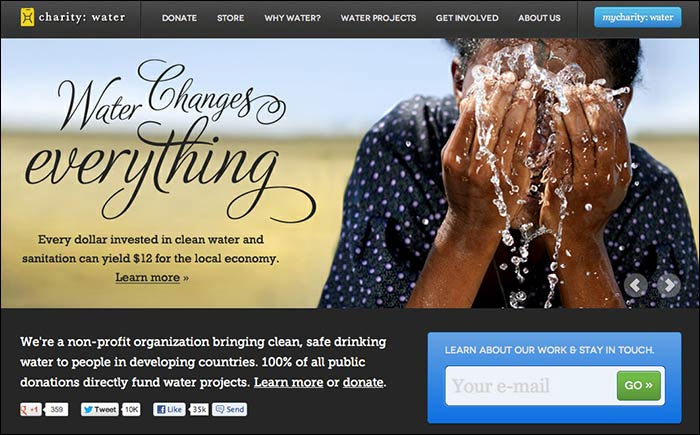 Charity Water Marketing Page