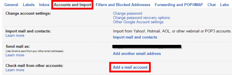 Screenshot of Accounts and Import Settings in Gmail