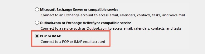 Screenshot of Connecting a POP or IMAP email to Outlook