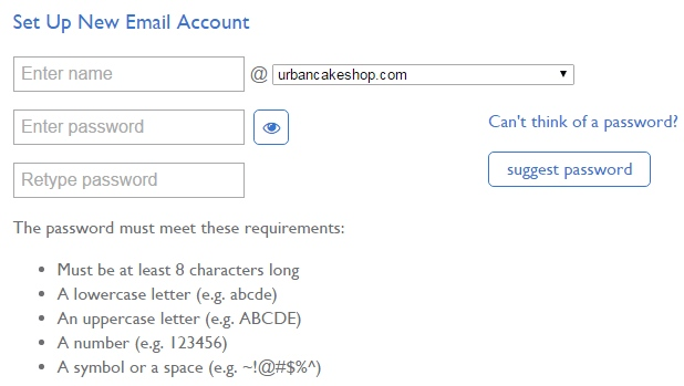 Screenshot of New Email Account Set Up