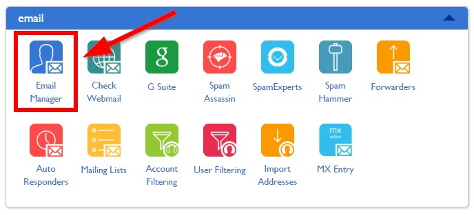 Email Manager Tool in Bluehost