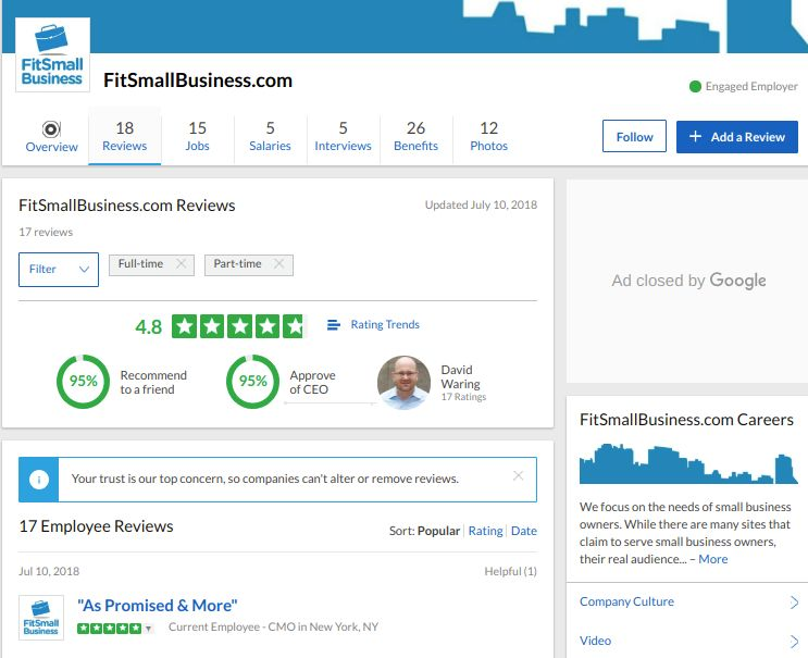 Screenshot of Fit Small Business Company Page on Glassdoor