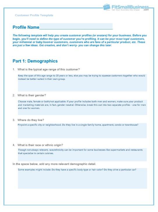Free customer profile template
