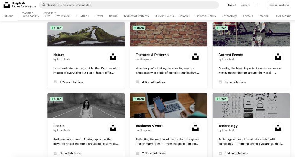 Screenshot of Free Blog Images on Unsplash
