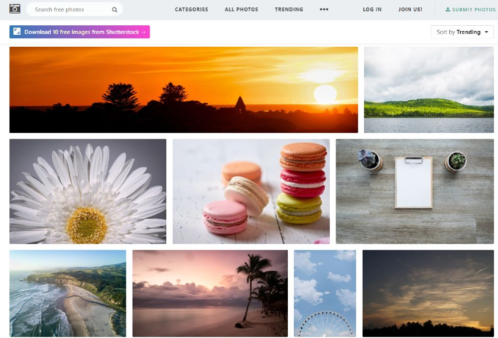 Screenshot of Free Images on Stocksnap