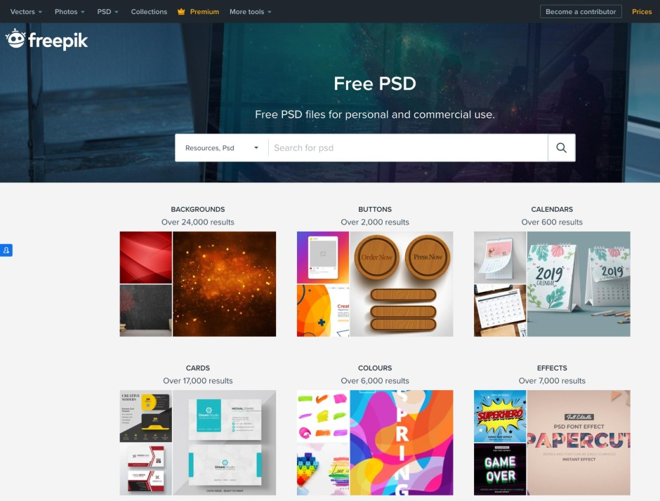 Screenshot of Freepik Images