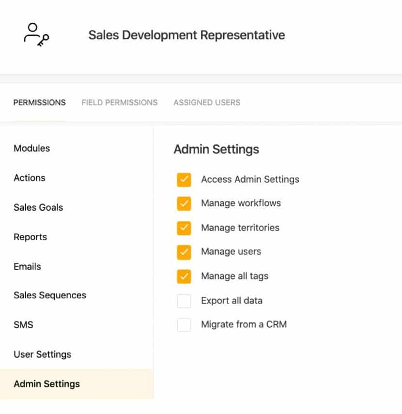 Freshsales admin permissions and settings