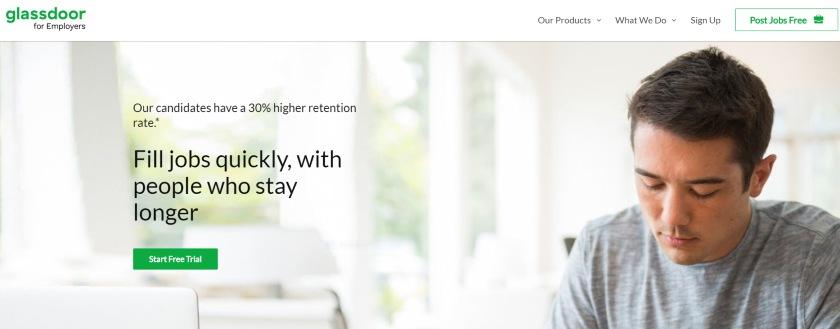 Screenshot of Glassdoor's website