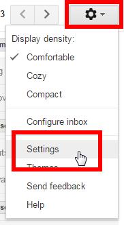 Screenshot of Gmail settings