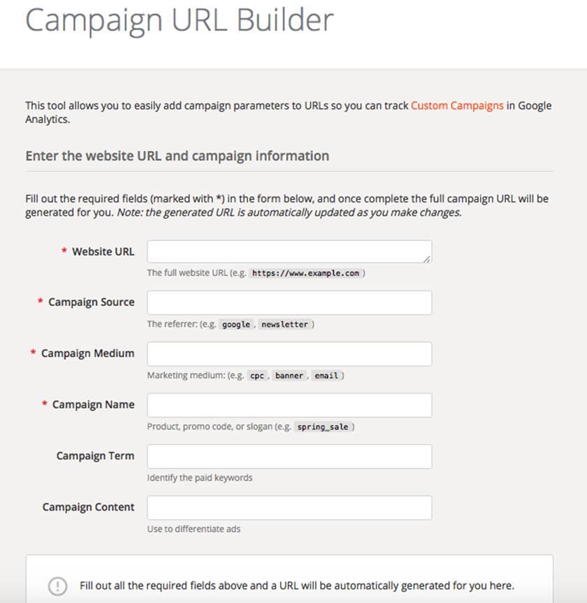 Google Analytics Campaign Link Builder.