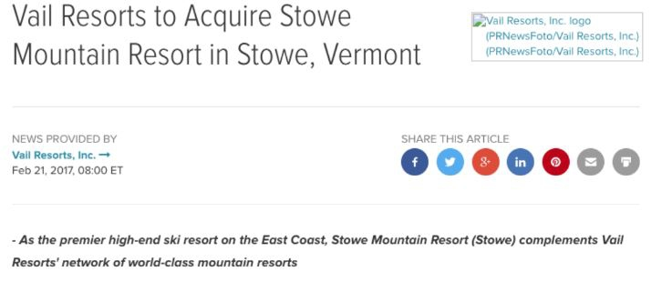 Screenshot of Headline example from Vail Resorts