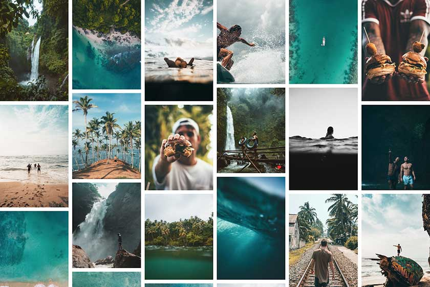 Instagram Feed of Falls and Beach Line