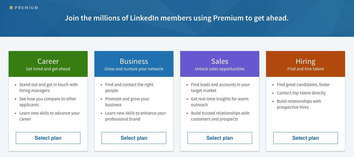 Screenshot of LinkedIn Premium Plans