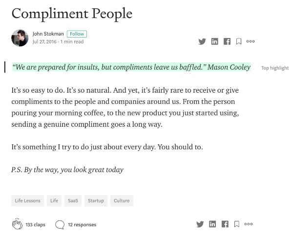 Medium microblog post example