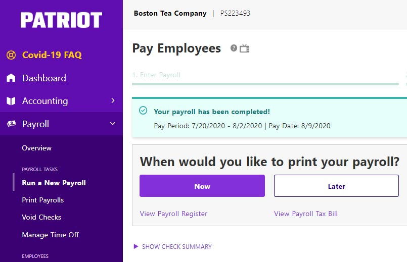 Patriot Payroll Submit Success