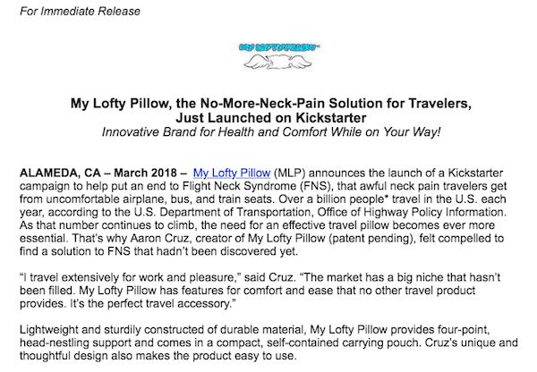 Screenshot of using a quote in a press release from Lofty Pillow