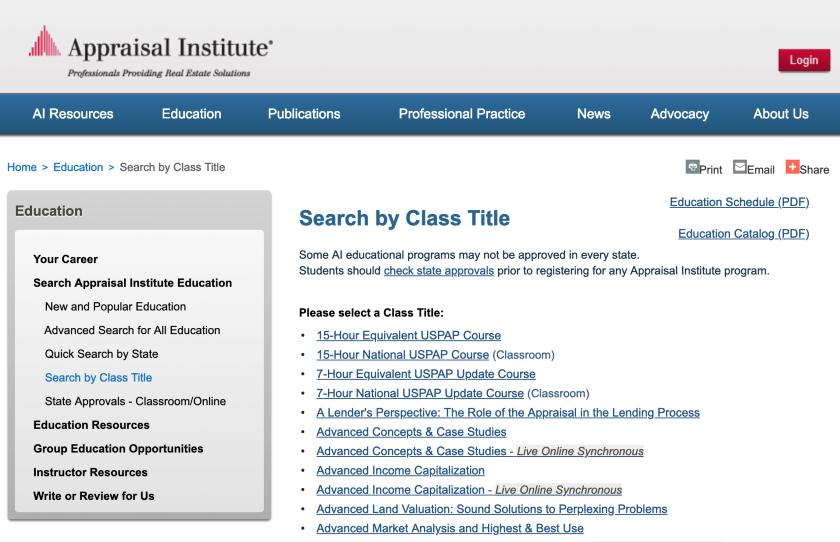 Screenshot of Appraisal Institute course search function
