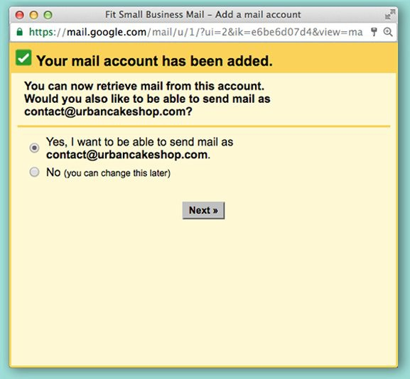Setting up outgoing email in Gmail