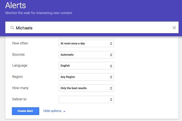 Setting up a Google Alert