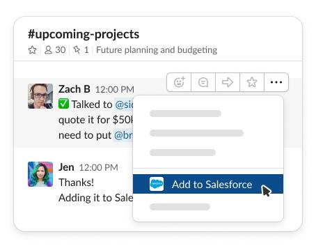 Screenshot of Slack with Salesforce integration