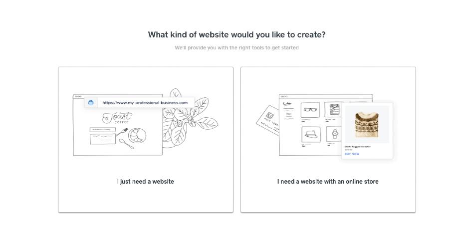 Screenshot of Choosing the type of site