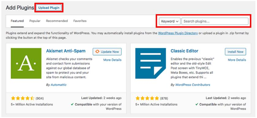 Upload or search for a plugin in WordPress