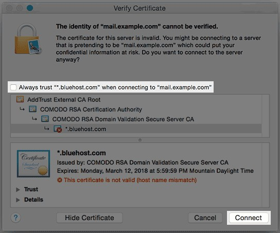 Screenshot of Verify SSL certificate for Bluehost email