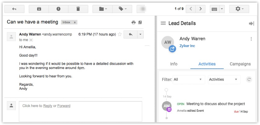 Screenshot of Zoho CRM integrated sidebar for Gmail