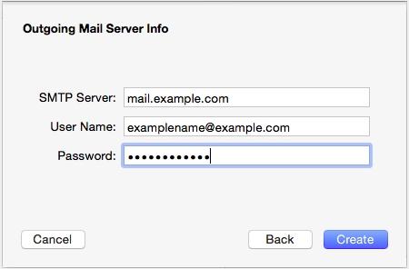 Screenshot of macOS outgoing mail server information