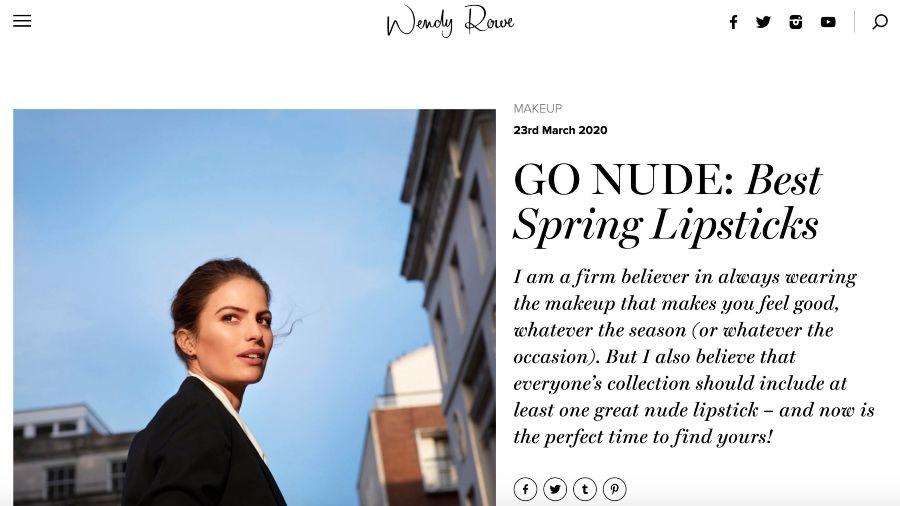 Screenshot of Wendy Rowe Best Spring Lipsticks