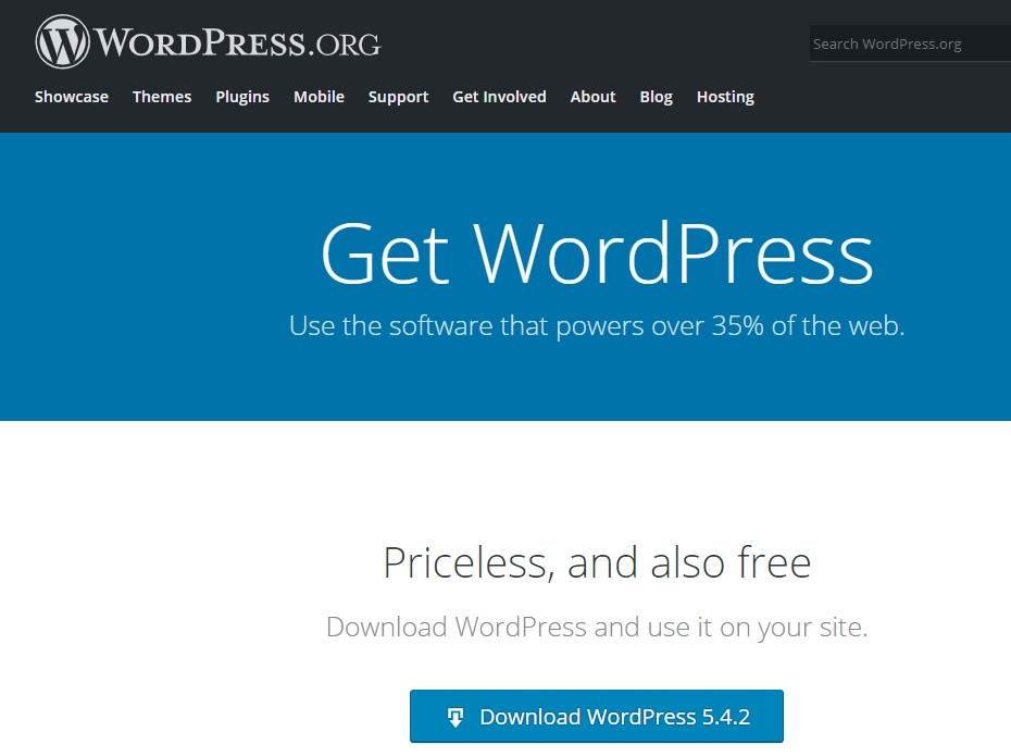 Screenshot of Downloadable WordPress