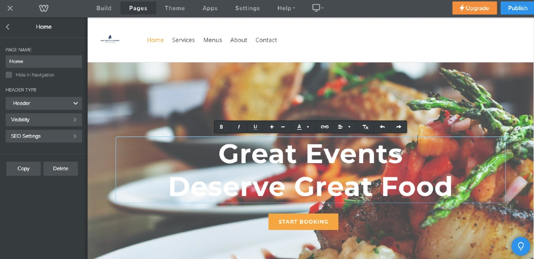 Screenshot of Editing Weebly Website