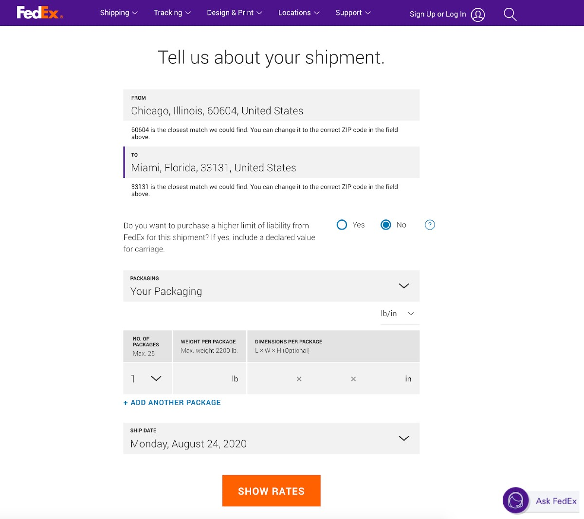 Screenshot of FedEx Shipping Details