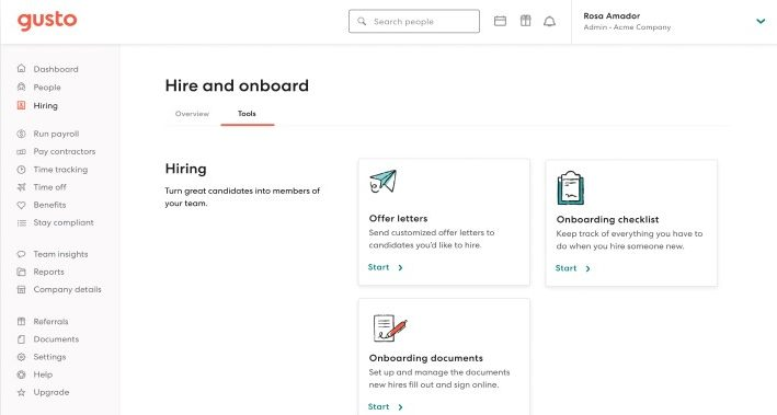 Screenshot of Gusto Hire and Onboard