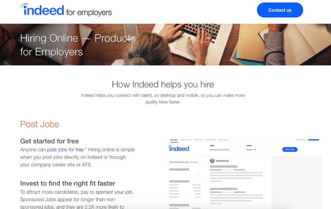 Screenshot of Indeed for employers