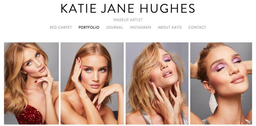 Screenshot of Makeup artist Katie Jane Hughes' beauty blog