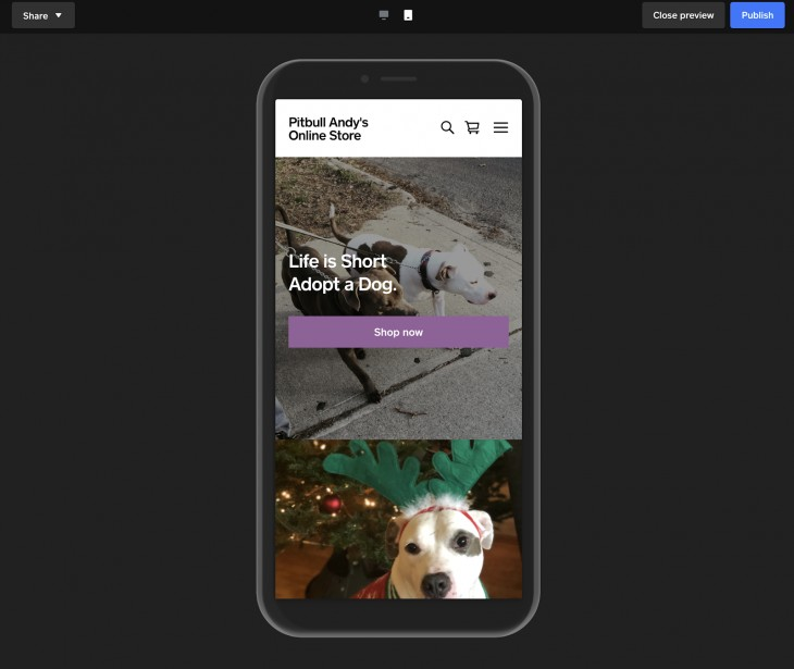 Screenshot of Mobile Preview and Publish