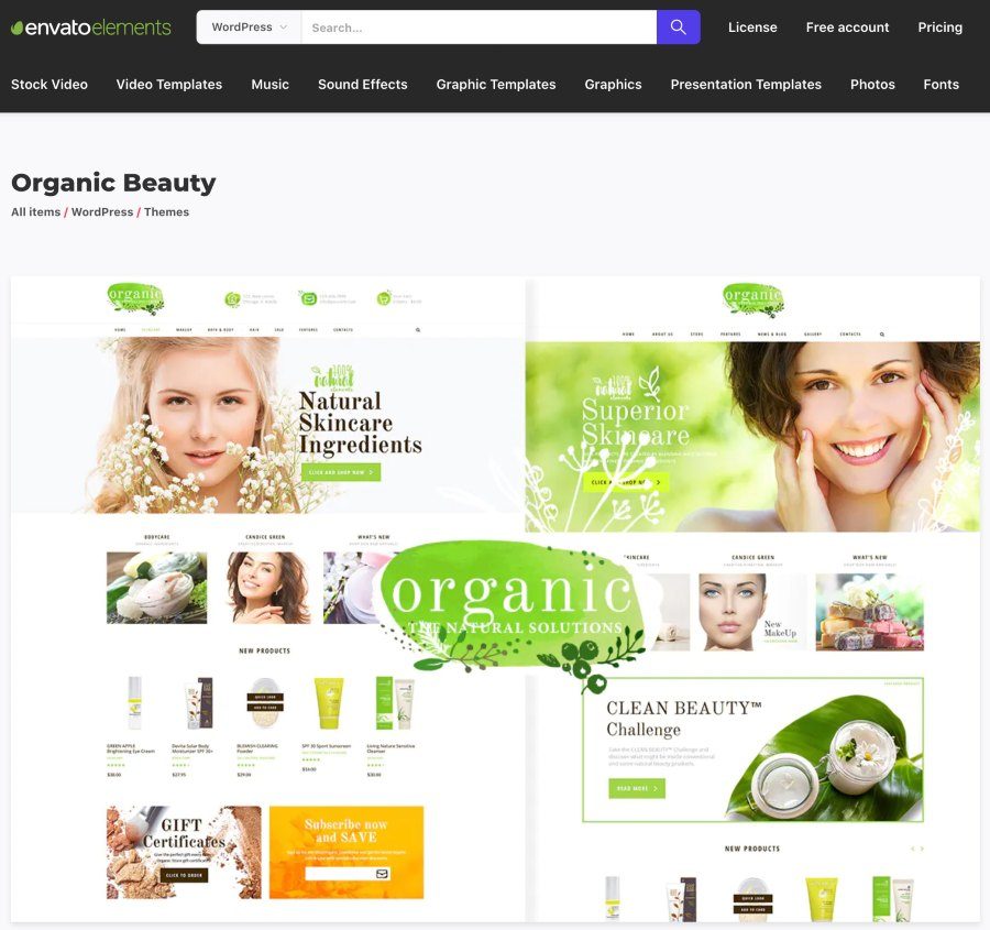 Screenshot of Envato Elements Organic Beauty