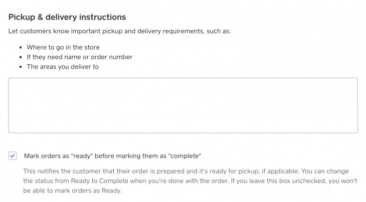 Screenshot of Pickup and Delivery Instructions