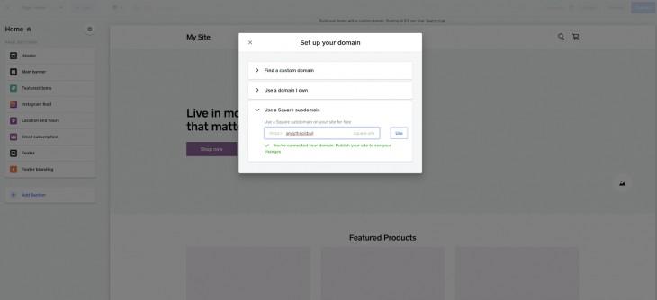 Screenshot of Square Subdomain