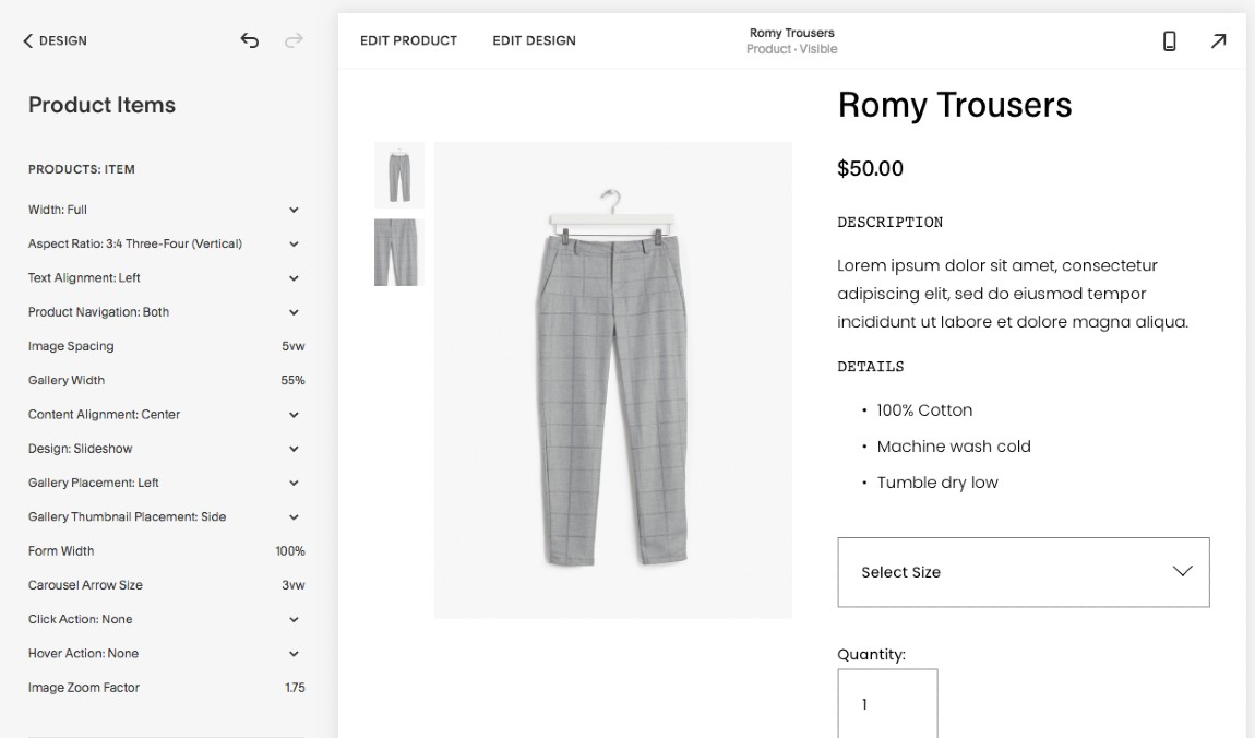 Screenshot of Squarespace Product