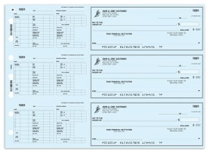 Customized manual tear-off checks with pay stub on left