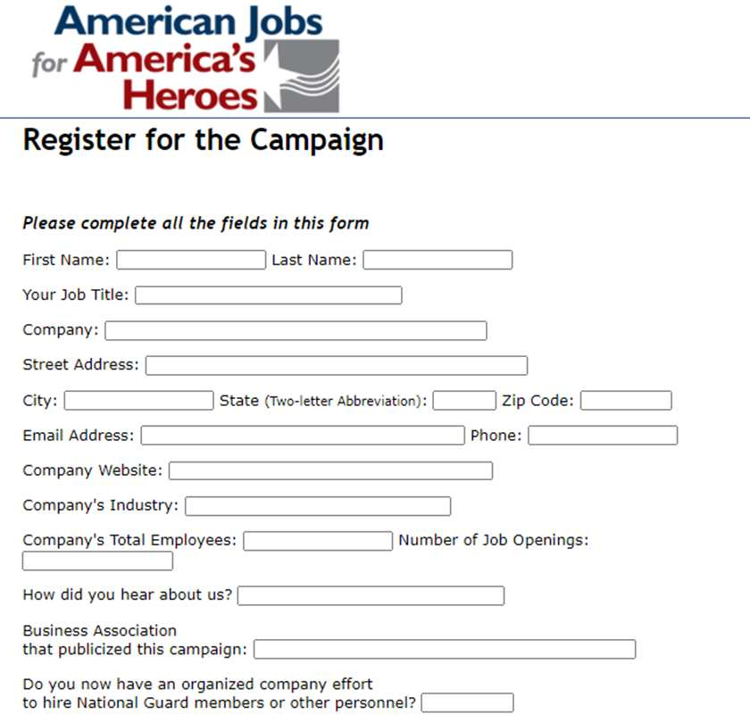 Screenshot of AJAH Campaign Registration